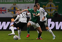 Julian Brandt (Deutschland Germany)n gegen Josh Magennis (Nordirland, Northern Ireland) - 19.11.2019: Deutschland vs. Nordirland, Commerzbank Arena Frankfurt, EM-Qualifikation DISCLAIMER: DFB regulations prohibit any use of photographs as image sequences and/or quasi-video.
