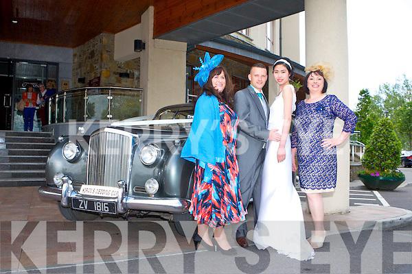 WEDDING SHOWCASE: Models at the Carlton Hotel, Tralee, wedding showcase on Sunday, l-r: Margaret Stritch, Sean Reidy, Danny Xu and Narlyn Kavanagh.