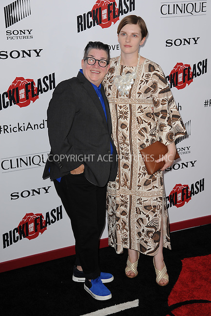 WWW.ACEPIXS.COM<br /> August 3, 2015 New York City<br /> <br /> Lea DeLaria and Chelsea Fairless attending the New York premiere of 'Ricki And The Flash' at AMC Lincoln Square Theater on August 3, 2015 in New York City.<br /> <br /> Credit: Kristin Callahan/ACE <br /> <br /> <br /> Tel: (646) 769 0430<br /> e-mail: info@acepixs.com<br /> web: http://www.acepixs.com