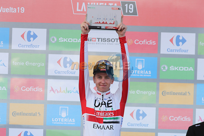 Tadej Pogacar (SLO) UAE Team Emirates wins Stage 13 of La Vuelta 2019 running 166.4km from Bilbao to Los Machucos, Spain. 6th September 2019.<br /> Picture: Luis Angel Gomez/Photogomezsport | Cyclefile<br /> <br /> All photos usage must carry mandatory copyright credit (© Cyclefile | Luis Angel Gomez/Photogomezsport)