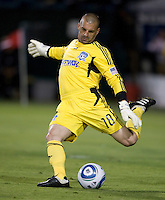 Earthquakes' goalkeeper Jon Busch kicks the ball during the game against Kansas City at Buck Shaw Stadium in Santa Clara. California on October 1st, 2011.  San Jose Earthquakes tied Sporting Kansas City, 1-1.