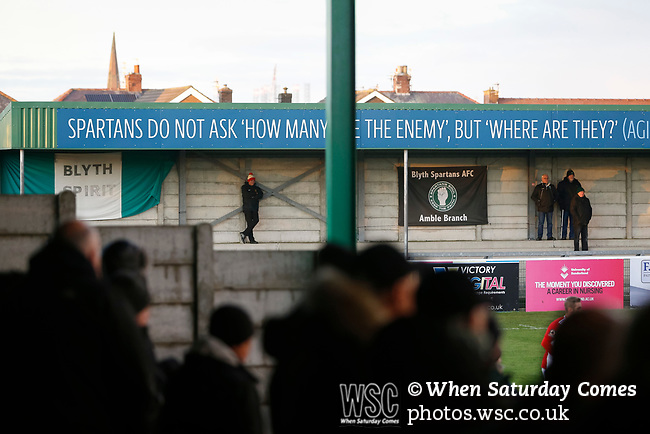 A solitary Brackley fan watches the game. Blyth Spartans v Brackley Town, 30112019. Croft Park, National League North. Photo by Paul Thompson.
