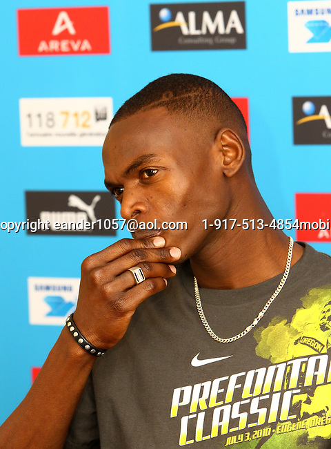 Abubaker Kaki at the Samsung Diamond League press conference, Pullman Hotel. Paris,France Thursday, July  15, 2010. photo by Errol Anderson.