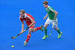 ENG - London, England, August 29: During the men bronze medal match between Ireland (green) and England (red) on August 29, 2015 at Lee Valley Hockey and Tennis Centre, Queen Elizabeth Olympic Park in London, England. Final score 4-2 (2-2). (Photo by Dirk Markgraf / www.265-images.com) *** Local caption *** David AMES #30 of England, Michael ROBSON #22 of Ireland