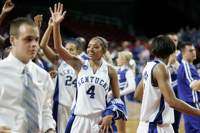 The Kentucky Women's basketball team waves to fans after defeating the Liberty Flames in the first round of NCAA tournament play at Freedom Hall on Saturday, March 20, 2010. Photo by Scott Hannigan | Staff