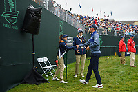 Bernd Wiesberger (AUT) shakes hands with the sign bearer following round 4 of the 2019 US Open, Pebble Beach Golf Links, Monterrey, California, USA. 6/16/2019.<br /> Picture: Golffile | Ken Murray<br /> <br /> All photo usage must carry mandatory copyright credit (© Golffile | Ken Murray)