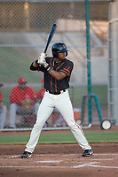 AZL Giants Black left fielder Randy Norris (1) at bat during an Arizona League game against the AZL Angels at the San Francisco Giants Training Complex on July 1, 2018 in Scottsdale, Arizona. The AZL Giants Black defeated the AZL Angels by a score of 4-2. (Zachary Lucy/Four Seam Images)