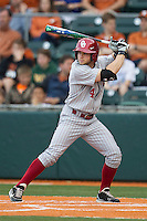 Oklahoma Sooners outfielder Hunter Haley #4 at bat against the Texas Longhorns in the NCAA baseball game on April 5, 2013 at UFCU DischFalk Field in Austin Texas. Oklahoma defeated Texas 2-1. (Andrew Woolley/Four Seam Images).