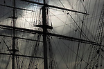 Rigging of Cutty Sark ship against stormy sky, Greenwich, London UK