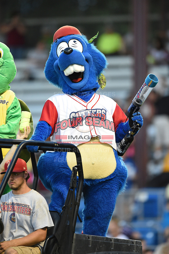 Williamsport Crosscutters mascot Boomer during a game against the Aberdeen IronBirds on August 4, 2014 at Bowman Field in Williamsport, Pennsylvania.  Aberdeen defeated Williamsport 6-3.  (Mike Janes/Four Seam Images)