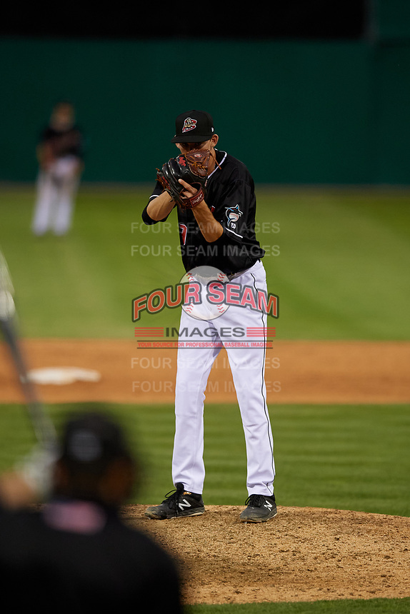 Batavia Muckdogs relief pitcher M.D. Johnson (39) during a NY-Penn League game against the West Virginia Black Bears on June 26, 2019 at Dwyer Stadium in Batavia, New York.  Batavia defeated West Virginia 4-2.  (Mike Janes/Four Seam Images)