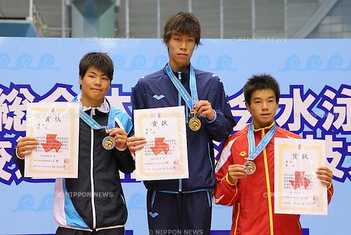 L-R) Haruki Suyama (Shotakugakuin), Yuto Araki (Teikyonagaoka), Fumiya Sakito (Sagashogyo), <br /> August 18, 2014 - Diving :<br /> 2014 All-Japan Inter High School Championships,<br /> Men's 3m Victory Ceremony <br /> at Chiba International General Swimming Center, Chiba, Japan. <br /> (Photo by Yohei Osada/AFLO SPORT)