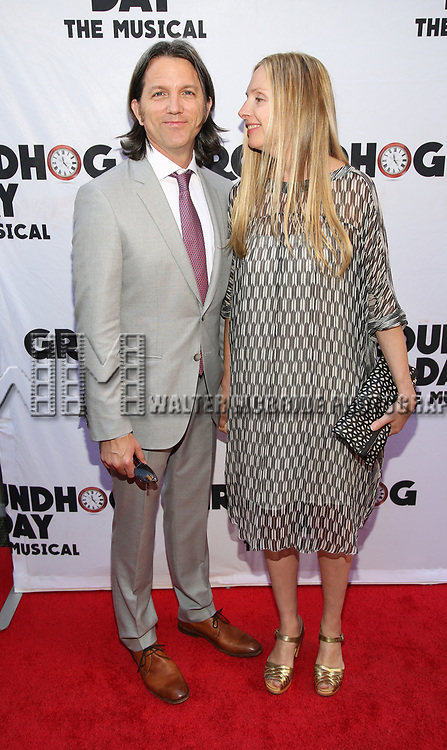 Jon Patrick Walker and Hope Davis attends the Broadway Opening Night performance of 'Groundhog Day' at the August Wilson Theatre on April 17, 2017 in New York City