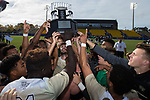 The Wake Forest Demon Deacons hoist the ACC Men's Soccer Championship trophy after defeating the Virginia Cavaliers 3-2 in penalty kicks at MUSC Health Stadium on November 12, 2017 in Charleston, South Carolina.  (Brian Westerholt/Sports On Film)