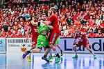 Eskilstuna 2014-05-12 Handboll SM-semifinal 3 Eskilstuna Guif - Alings&aring;s HK :  <br /> Alings&aring;s Pontus Johansson stoppas av Eskilstuna Guif f&ouml;rsvar<br /> (Foto: Kenta J&ouml;nsson) Nyckelord:  Eskilstuna Guif Sporthallen Alings&aring;s AHK SM Semifinal Semi