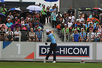 Tommy Fleetwood (Europe) on the 1st tee during the Saturday Foursomes of the Eurasia Cup at Glenmarie Golf and Country Club on the 13th January 2018.<br /> Picture:  Thos Caffrey / www.golffile.ie