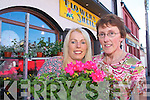 Sheila Costello with Nora Brosnan, Cordal outside Flowers by Sheila at Market Cross.