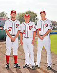25 February 2011: Washington Nationals' first round pitching draft picks Stephen Strasburg, Drew Storen, and Ross Detwiler pose for a Photo Day image at Space Coast Stadium in Viera, Florida. Mandatory Credit: Ed Wolfstein Photo