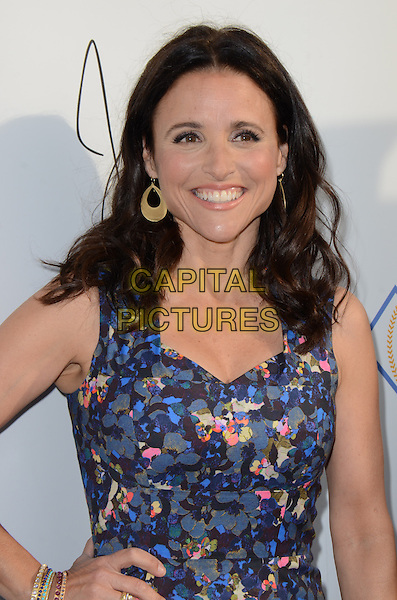 Julia Louis-Dreyfus.Heal The Bay's Bring Back The Beach Annual Awards Gala held at The Jonathan Club, Santa Monica, California, USA..May 16th, 2013.half length blue grey gray pink pattern print dress .CAP/ADM/TW.©Tonya Wise/AdMedia/Capital Pictures.
