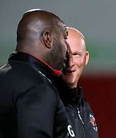 Blackpool manager Simon Grayson has a word with Doncaster Rovers manager Darren Moore before kick off<br /> <br /> Photographer Alex Dodd/CameraSport<br /> <br /> The EFL Sky Bet League One - Doncaster Rovers v Blackpool - Tuesday September 17th 2019 - Keepmoat Stadium - Doncaster<br /> <br /> World Copyright © 2019 CameraSport. All rights reserved. 43 Linden Ave. Countesthorpe. Leicester. England. LE8 5PG - Tel: +44 (0) 116 277 4147 - admin@camerasport.com - www.camerasport.com