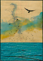Antique map with mixed media photography of birds flying over green ocean.