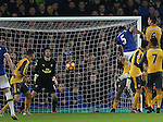 Ashley Williams of Everton scores the winning goal during the English Premier League match at Goodison Park Stadium, Liverpool. Picture date: December 13th, 2016. Pic Simon Bellis/Sportimage