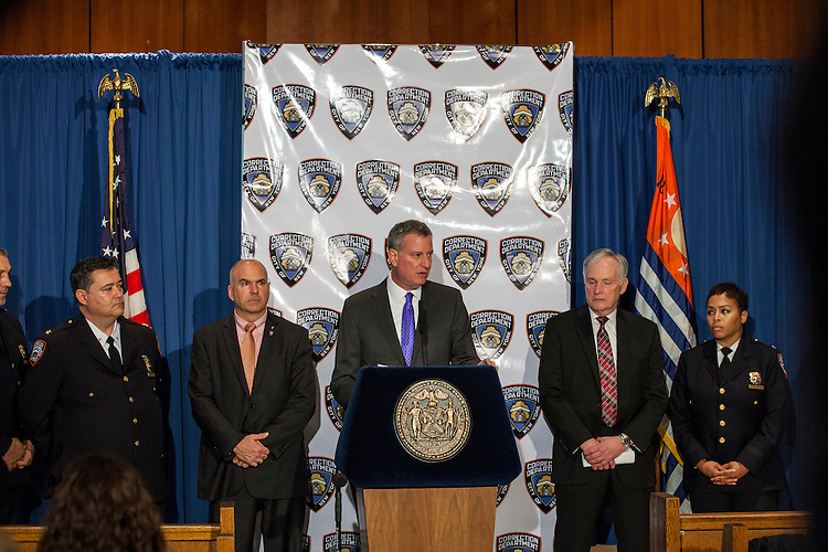 New York City Mayor Bill De Blasio pays a visit to Rikers Island to briefly tour the facilities and lead a press conference on the heel of several reforms being implemented at the facilities by the New York City Department of Corrections.<br /> <br /> Photographed on December 17, 2014 by Mark Abramson for the Wall Street Journal