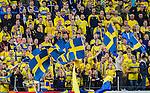 Solna 2015-09-08 Fotboll EM-kval , Sverige - &Ouml;sterrike :  <br /> Sveriges supportrar med flaggor under matchen mellan Sverige och &Ouml;sterrike <br /> (Photo: Kenta J&ouml;nsson) Keywords:  Sweden Sverige Solna Stockholm Friends Arena EM Kval EM-kval UEFA Euro European 2016 Qualifying Group Grupp G &Ouml;sterrike Austria supporter fans publik supporters