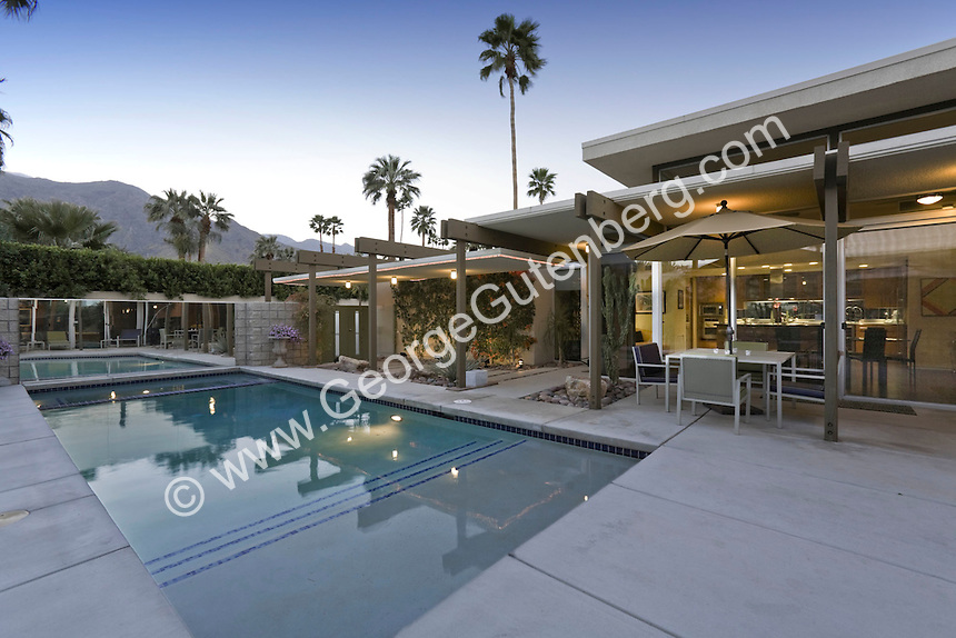 Swimming pool of mid-century modern home