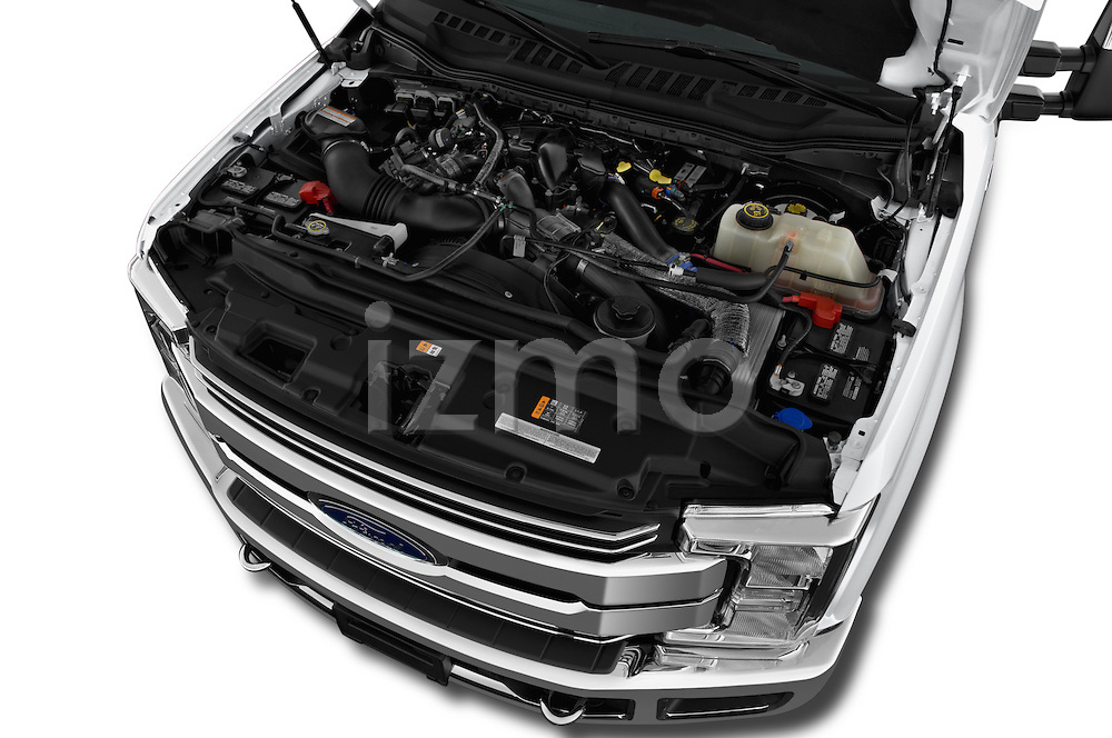 Car Stock 2017 Ford F-250 Lariat-Crew-Cab 4 Door Pickup Engine  high angle detail view