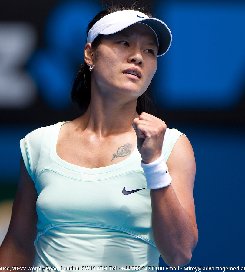 Na Li (CHN) (9) against Andrea Petkovic (GER) (30) in the Quarter Finals of the women's singles. Na Li beat Andrea Petkovic 6-2 6-4..International Tennis - Australian Open  -  Melbourne Park - Melbourne - Day 9 - Tues 25th January 2011..© Frey - AMN Images, Level 1, Barry House, 20-22 Worple Road, London, SW19 4DH.Tel - +44 208 947 0100.Email - Mfrey@advantagemedianet.com.Web - www.amnimages.photshelter.com