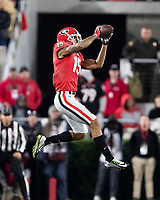ATHENS, GA - NOVEMBER 09: Lawrence Cager #15 of the Georgia Bulldogs catches a pass during a game between Missouri Tigers and Georgia Bulldogs at Sanford Stadium on November 09, 2019 in Athens, Georgia.