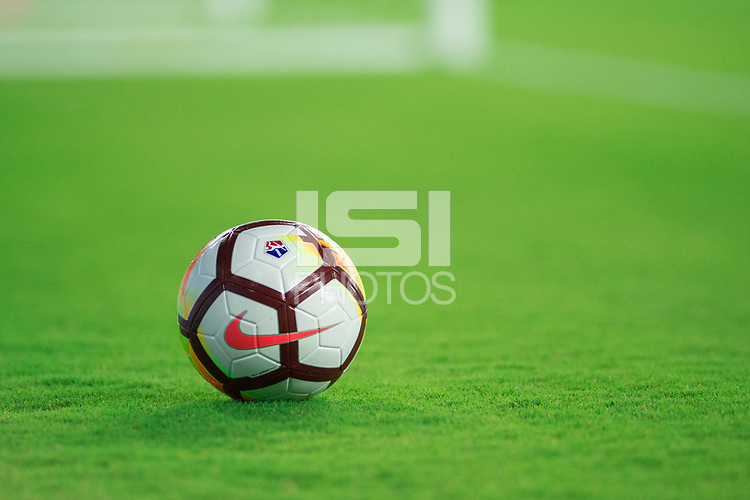 Orlando, FL - Saturday April 28, 2018:  NIKE Soccer Ball, Orlando Pride vs Seattle Reign FC at Orlando City Stadium.