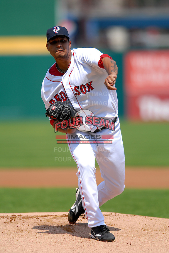 Pitcher Felix Doubront #44 of the Pawtucket Red Sox during a game versus the Toledo Mud Hens on May 3, 2011 at McCoy Stadium in Pawtucket, Rhode Island. Photo by Ken Babbitt /Four Seam Images