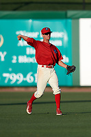 Clearwater Threshers center fielder Zachary Coppola (19) throws the ball back to the infield during a game against the Dunedin Blue Jays on April 7, 2017 at Spectrum Field in Clearwater, Florida.  Dunedin defeated Clearwater 7-4.  (Mike Janes/Four Seam Images)