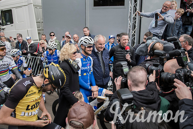 Tom Boonen (BEL/Quick-Step Floors) surrounded by his parents, fellow riders, a horde of press photographers and live TV at the start of his final 'race' as a pro at the Tom Boonen farewell race/criterium 'Tom Says Thanks!' in Mol/Belgium