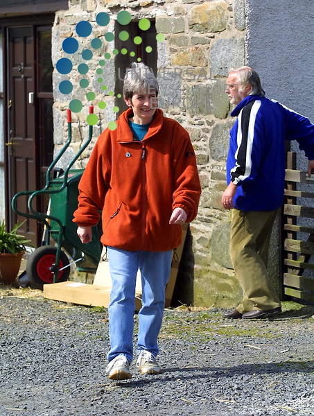 Maurice McDonald..Carolyn Hoffe stands outside her home in Glasserton near Whithorn with her step father Douglas Allen (behind) as she talks to the press about her refusing to let MAF cull her sheep that a living inside.her home.