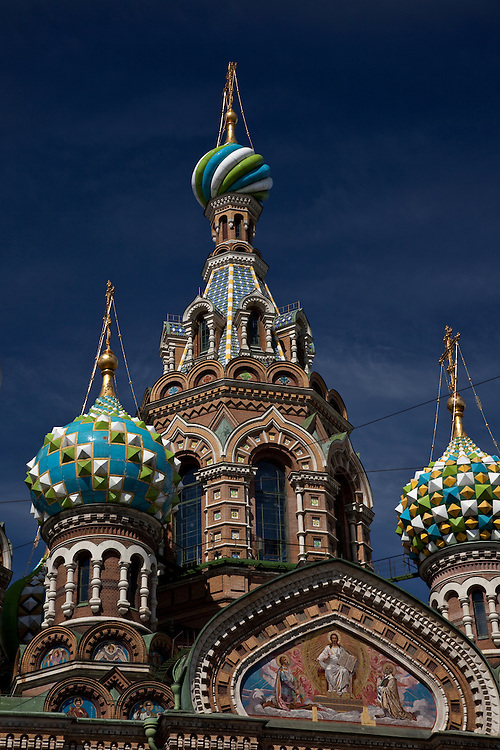 Spires of Church of the Savior on Spilled Blood in St.Petersburg,Russia