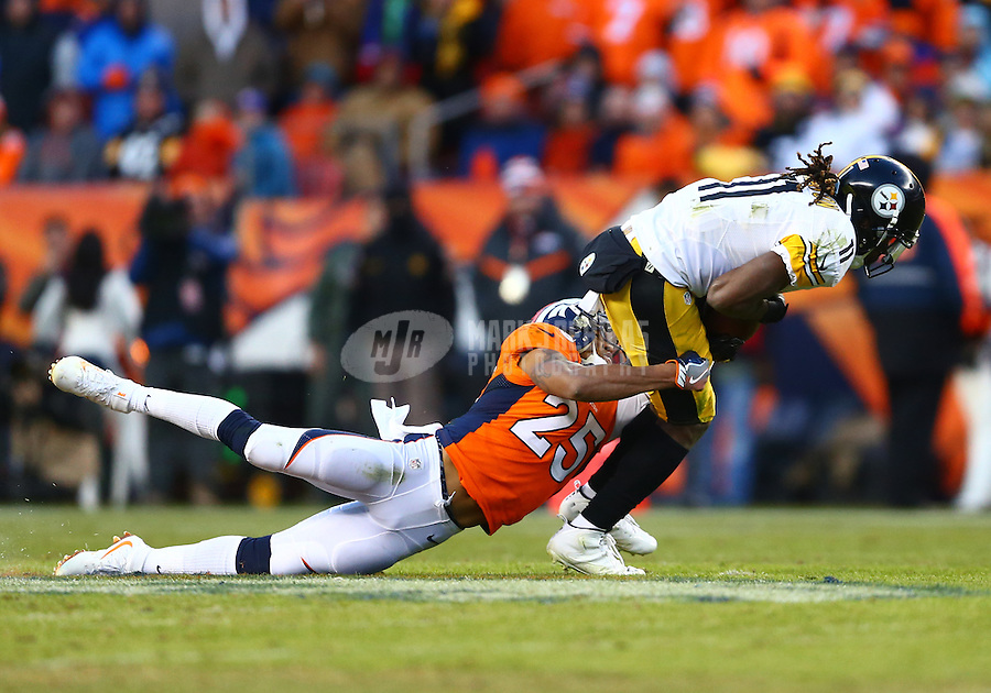 Jan 17, 2016; Denver, CO, USA; Denver Broncos cornerback Chris Harris Jr. (25) tackles Pittsburgh Steelers wide receiver Markus Wheaton (11) during the AFC Divisional round playoff game at Sports Authority Field at Mile High. Mandatory Credit: Mark J. Rebilas-USA TODAY Sports