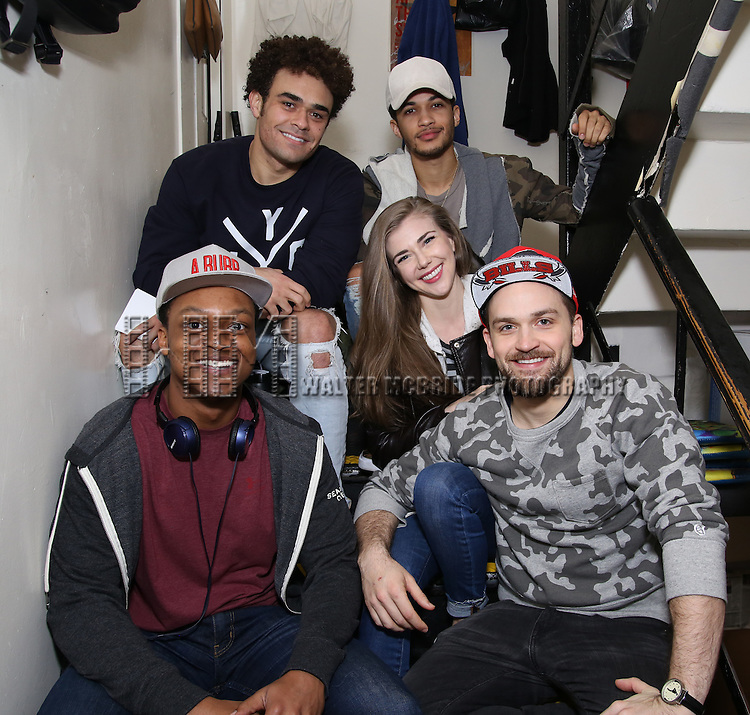 Clockwise: Andrew Chappelle, Jordan Fisher, Eliza Ohman, Neil Haskell and J. Quinton Johnson backstage before the cast Q & A for The Rockefeller Foundation and The Gilder Lehrman Institute of American History sponsored High School student matinee performance of  'Hamilton' at the Richard Rodgers Theatre on 2/8/2017 in New York City.