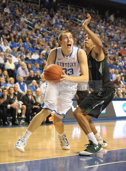 Kyle Wiltjer (33) drives to the basket during the first half of the University of Kentucky Basketball game against Loyola at Rupp Arena in Lexington, Ky., on 12/22/11. UK led at half 45-39. Photo by Mike Weaver | Staff