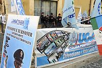 Roma, 23 Ottobre 2012.Montecitorio.Lavoratori del comparto sicurezza e vigili del fuoco manifestano davanti il Parlamento contro la legge di stabilità 2013