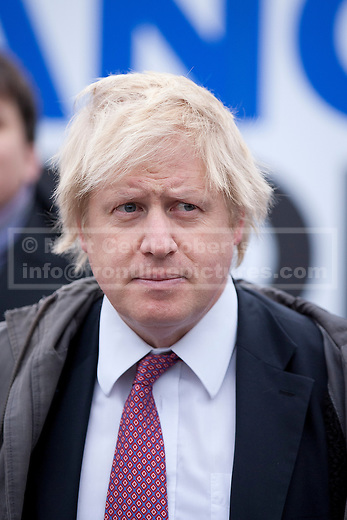 08/02/2012. LONDON, UK. Mayor of London Boris Johnson is seen at an Operation Trident press call at Trafalgar Square in London today (08/02/12). Operation Trident is a Metropolitan Police Service initiative set up to focus on gang and black on black crime in London. Photo credit: Matt Cetti-Roberts