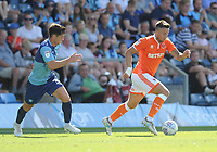 Blackpool's John O'Sullivan under pressure from Wycombe Wanderers' Joe Jacobson<br /> <br /> Photographer Kevin Barnes/CameraSport<br /> <br /> The EFL Sky Bet League One - Wycombe Wanderers v Blackpool - Saturday 4th August 2018 - Adams Park - Wycombe<br /> <br /> World Copyright &copy; 2018 CameraSport. All rights reserved. 43 Linden Ave. Countesthorpe. Leicester. England. LE8 5PG - Tel: +44 (0) 116 277 4147 - admin@camerasport.com - www.camerasport.com