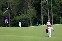 Brandon Grace (RSA) an d Lucas Bjerregaard (DEN) on the 18th fairway during the 2nd round at the The Masters , Augusta National, Augusta, Georgia, USA. 12/04/2019.<br /> Picture Fran Caffrey / Golffile.ie<br /> <br /> All photo usage must carry mandatory copyright credit (© Golffile | Fran Caffrey)