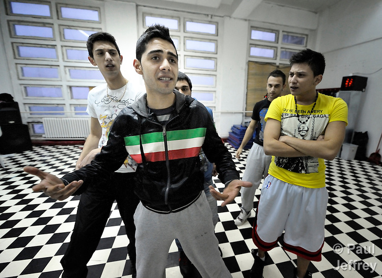 Members of the music group GRUBB -  Gypsy Roma Urban Balkan Beats - practice in an abandoned industrial building in Belgrade, Serbia. The group puts a contemporary spin on the rich musical heritage of the persecuted Roma by infusing traditional melodies with hip-hop beats. The group, which has performed in other parts of Europe and in North America, presents a message challenging the prejudice and discrimination facing the Roma of the Balkans..