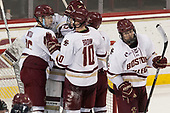 Julius Mattila (BC - 26), Joe Woll (BC - 31), Christopher Brown (BC - 10), Austin Cangelosi (BC - 9), Scott Savage (BC - 2) - The Boston College Eagles defeated the visiting UConn Huskies 2-1 on Tuesday, January 24, 2017, at Kelley Rink in Conte Forum in Chestnut Hill, Massachusetts.