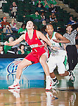 Louisiana Lafayette Ragin' Cajuns guard Michelle Brunker (1) in action during the game between the Louisiana Lafayette Ragin' Cajuns and the University of North Texas Mean Green at the North Texas Coliseum,the Super Pit, in Denton, Texas. UNT defeats Louisiana Lafayette 78 to 40....