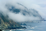 Coastal fog and mountain cliffs over the Pacific Ocean along the Big Sur Coast, Monterey County, California