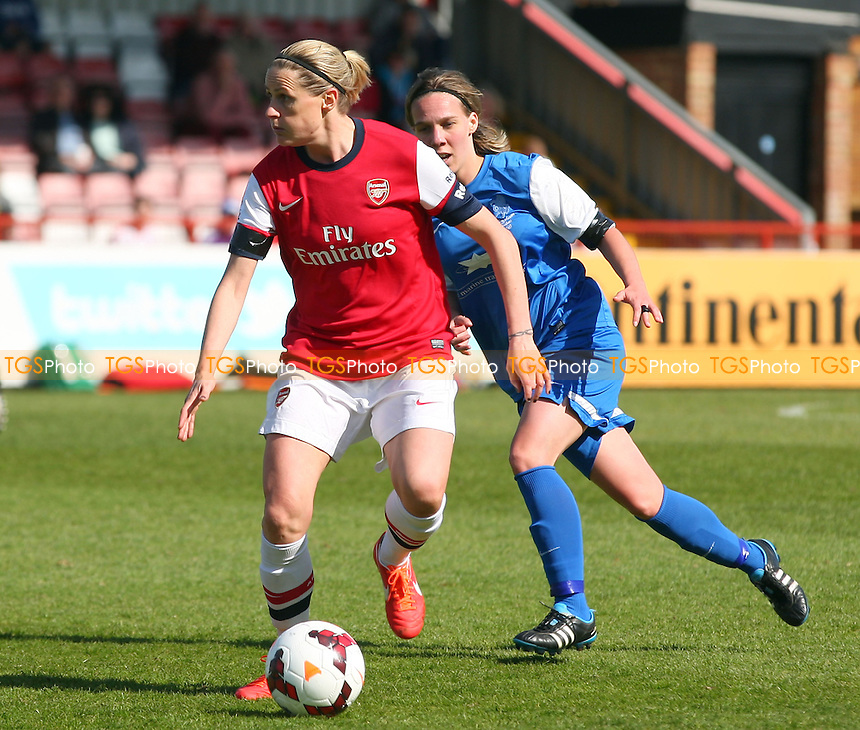 Charlotte Gurr of Gillingham Ladies and Kelly Smith of Arsenal Ladies - Arsenal Ladies vs Gillingham Ladies, FA Womens Cup at Meadow Park - 13/04/14 - MANDATORY CREDIT: Dave Simpson/TGSPHOTO - Self billing applies where appropriate - 0845 094 6026 - contact@tgsphoto.co.uk - NO UNPAID USE
